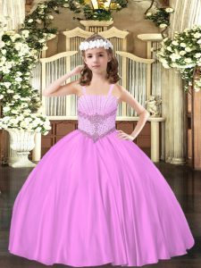 Beading Kids Pageant Dress Lilac Lace Up Sleeveless Floor Length