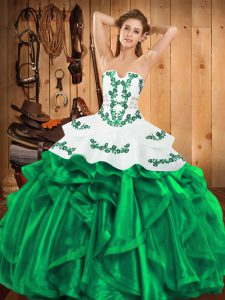 Colorful Sleeveless Satin and Organza Floor Length Lace Up Quinceanera Dress in Green with Embroidery and Ruffles