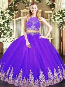 Fantastic Purple Scoop Neckline Beading and Appliques Sweet 16 Dresses Sleeveless Zipper
