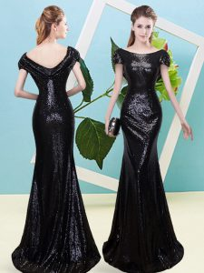 Artistic Sequined Scoop Cap Sleeves Zipper Sequins Prom Dresses in Black