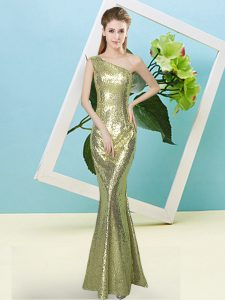 Custom Fit Floor Length Yellow Green Prom Dress One Shoulder Sleeveless Zipper
