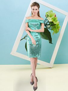 Pretty Turquoise Short Sleeves Sequins Mini Length Prom Party Dress
