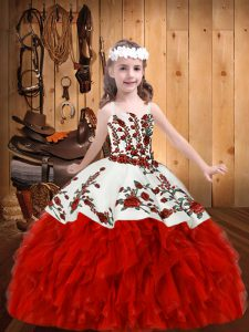 Sleeveless Organza Floor Length Lace Up Little Girl Pageant Dress in Red with Embroidery and Ruffles