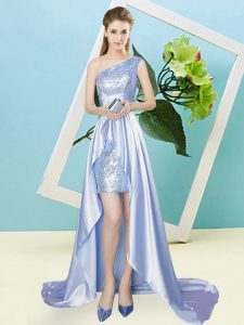 One Shoulder Sleeveless Prom Dresses High Low Sequins Lavender Elastic Woven Satin and Sequined