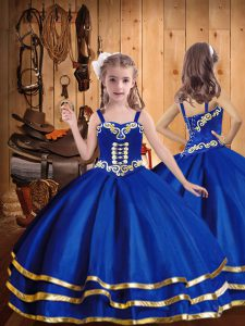 Discount Organza Straps Sleeveless Lace Up Embroidery and Ruffled Layers Little Girls Pageant Dress Wholesale in Royal Blue