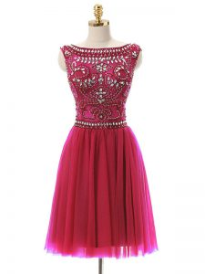 Hot Pink Empire Beading Prom Party Dress Zipper Tulle Sleeveless Mini Length