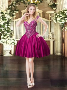 Super Fuchsia Lace Up V-neck Beading Prom Dresses Satin Sleeveless