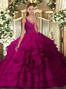 Flirting Fuchsia Organza Backless V-neck Sleeveless Floor Length Sweet 16 Dresses Ruffled Layers