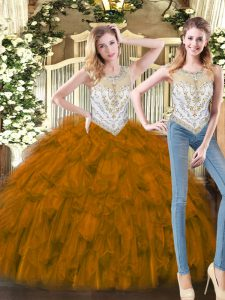 Brown Two Pieces Organza Scoop Sleeveless Beading and Ruffles Floor Length Zipper Sweet 16 Quinceanera Dress
