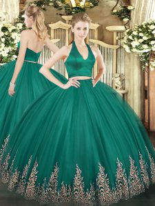 Sleeveless Floor Length Appliques Zipper Sweet 16 Quinceanera Dress with Dark Green