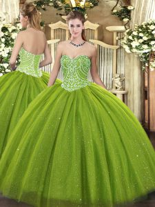 Cheap Tulle Sweetheart Sleeveless Lace Up Beading Sweet 16 Quinceanera Dress in Olive Green