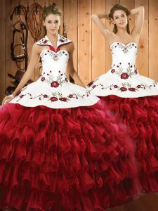 Spectacular Wine Red Ball Gowns Embroidery and Ruffled Layers Quince Ball Gowns Lace Up Organza Sleeveless Floor Length
