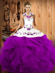 Purple Satin and Organza Lace Up Halter Top Sleeveless Floor Length Quinceanera Gown Embroidery and Ruffles