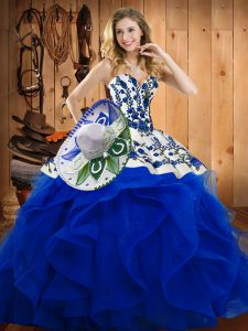 Sweetheart Sleeveless Lace Up Sweet 16 Quinceanera Dress Blue Satin and Organza