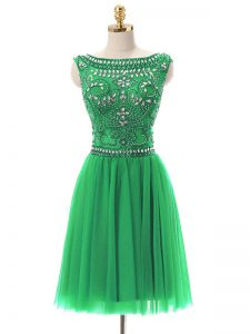 Colorful Empire Prom Evening Gown Green Bateau Tulle Sleeveless Mini Length Zipper