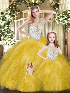 Floor Length Lace Up Sweet 16 Dress Gold for Military Ball and Sweet 16 and Quinceanera with Beading and Ruffles