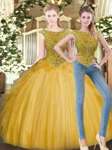 Glorious Gold Sleeveless Tulle Zipper Quinceanera Gown for Military Ball and Sweet 16 and Quinceanera