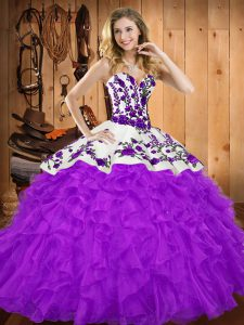 Simple Sleeveless Tulle Floor Length Lace Up Quinceanera Gown in Purple with Embroidery and Ruffles