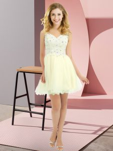 Customized Light Yellow Lace Up Dama Dress for Quinceanera Beading and Lace Sleeveless Mini Length