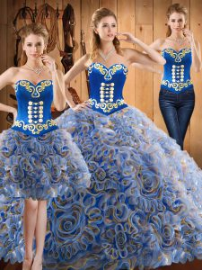 Eye-catching With Train Multi-color Ball Gown Prom Dress Strapless Sleeveless Sweep Train Lace Up