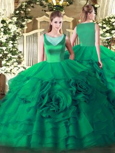 Sexy Turquoise Scoop Neckline Beading and Ruffled Layers Quinceanera Gowns Sleeveless Side Zipper