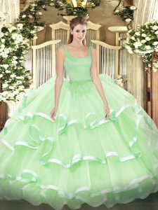 Latest Apple Green Zipper Sweet 16 Quinceanera Dress Beading and Ruffled Layers Sleeveless Floor Length