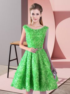 On Sale Knee Length A-line Sleeveless Green Prom Gown Lace Up