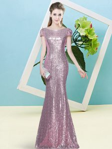 Sequins Dress for Prom Pink Zipper Cap Sleeves Floor Length