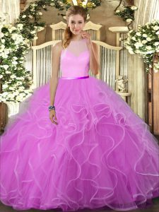 Comfortable Sleeveless Floor Length Ruffles Backless Quinceanera Dress with Lilac
