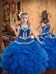 Enchanting Blue Ball Gowns Embroidery and Ruffles Little Girls Pageant Gowns Lace Up Organza Sleeveless Floor Length