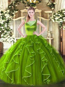 Artistic Side Zipper Scoop Beading and Ruffles Quince Ball Gowns Organza Sleeveless