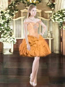 Beautiful Orange Red Ball Gowns Off The Shoulder Sleeveless Organza Mini Length Lace Up Beading and Ruffles