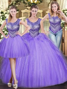 Comfortable Scoop Sleeveless Tulle Sweet 16 Dress Beading and Ruffles Lace Up
