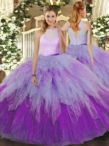 Enchanting Multi-color Organza Zipper Sweet 16 Quinceanera Dress Sleeveless Floor Length Ruffles