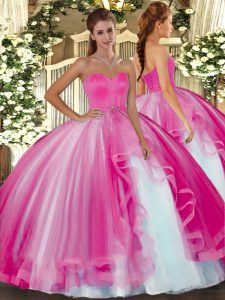 Smart Sweetheart Sleeveless Quinceanera Gowns Floor Length Beading Hot Pink Tulle