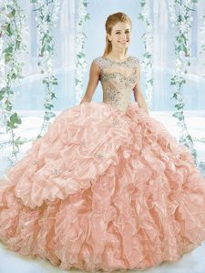 Eye-catching Ball Gowns Sleeveless Peach Sweet 16 Dress Brush Train Lace Up