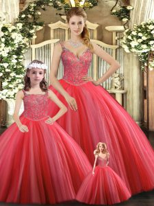 Sleeveless Floor Length Beading Lace Up Sweet 16 Dresses with Coral Red