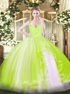Comfortable Ball Gowns Quinceanera Dress Yellow Green Spaghetti Straps Tulle Sleeveless Floor Length Zipper