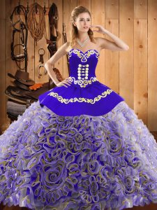 With Train Multi-color Quinceanera Gown Satin and Fabric With Rolling Flowers Sweep Train Sleeveless Embroidery