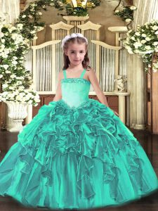 Turquoise Little Girls Pageant Gowns Party and Quinceanera with Appliques and Ruffles Straps Sleeveless Lace Up