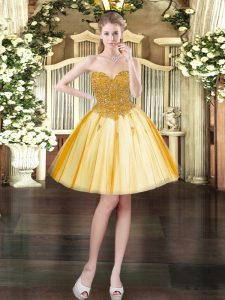 Discount Mini Length Lace Up Prom Dress Gold for Prom and Party with Beading