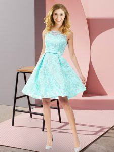 Cheap Sleeveless Lace Knee Length Zipper Bridesmaid Dress in Apple Green with Bowknot