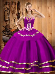 Ball Gowns Quinceanera Gowns Fuchsia Sweetheart Organza Sleeveless Floor Length Lace Up