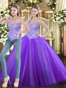 Eggplant Purple Lace Up Sweet 16 Dress Beading Sleeveless Floor Length