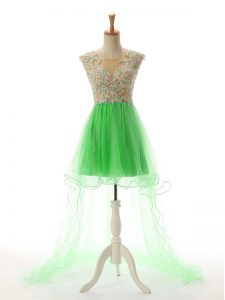 Trendy Green Tulle Backless Prom Evening Gown Sleeveless High Low Appliques