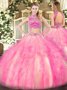 Sweet Watermelon Red and Rose Pink Two Pieces Tulle High-neck Sleeveless Beading and Ruffles Floor Length Backless 15 Quinceanera Dress