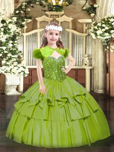 Olive Green Sleeveless Organza Lace Up Pageant Dress for Teens for Party and Quinceanera
