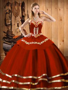 Glamorous Wine Red Ball Gowns Sweetheart Sleeveless Organza Floor Length Lace Up Embroidery Quinceanera Dresses