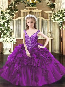 Exquisite V-neck Sleeveless Kids Pageant Dress Floor Length Beading and Ruffles Purple Organza