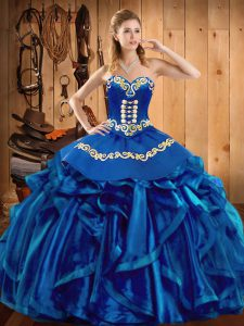 Embroidery and Ruffles Sweet 16 Quinceanera Dress Blue Lace Up Sleeveless Floor Length